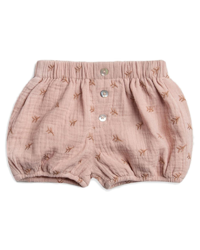 Little rylee + cru baby girl leaf embroidered button short