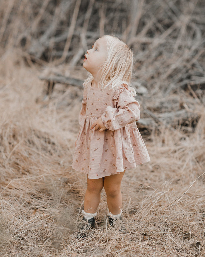Little rylee + cru girl leaf embroidered piper dress
