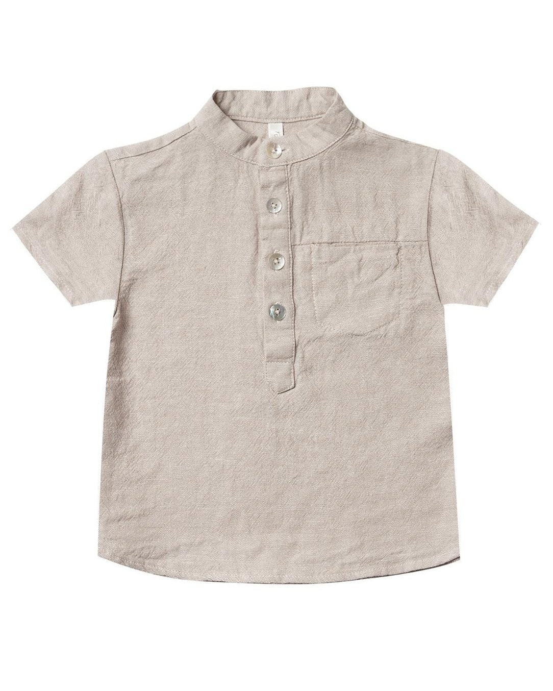 Little rylee + cru baby boy mason shirt in flax