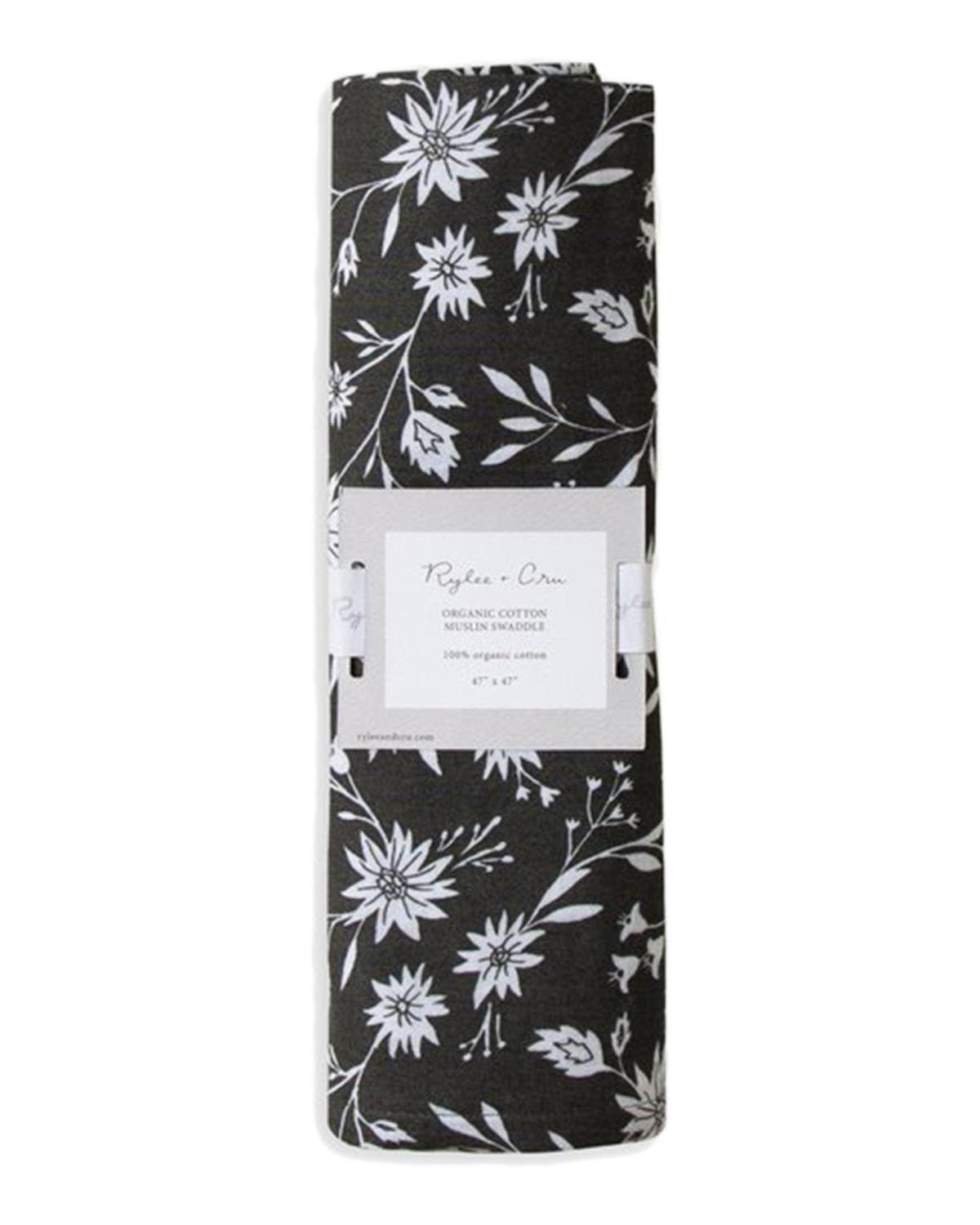 Little rylee + cru baby accessories organic midnight floral swaddle