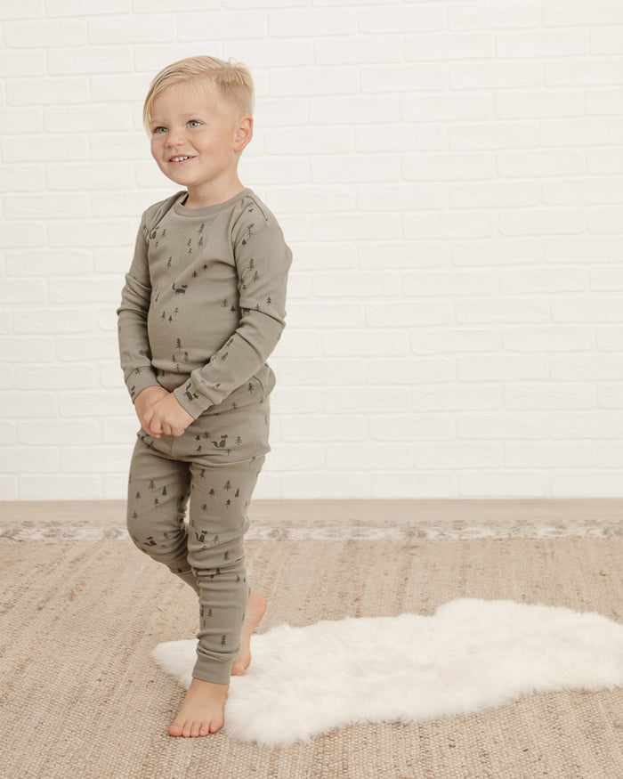 Little rylee + cru girl pajama set in forest
