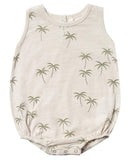 Little rylee + cru baby girl palm bubble onesie in natural