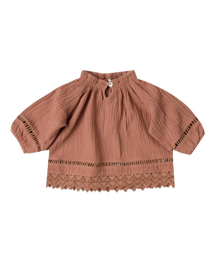 Little rylee + cru baby girl 0-3 quincy blouse in passionfruit