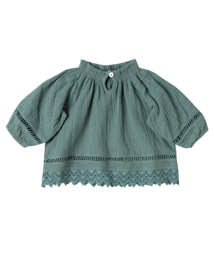 Little rylee + cru baby girl 0-3 quincy blouse in rainforest