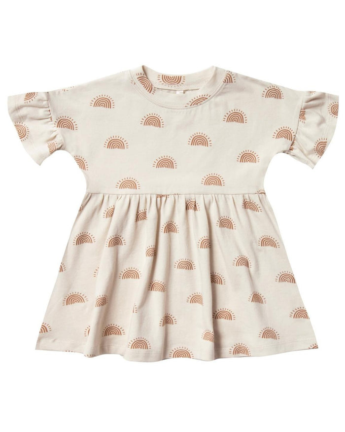 Little rylee + cru baby girl rainbow sun babydoll dress in natural