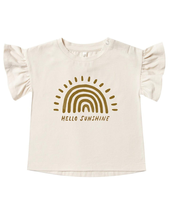 Little rylee + cru baby girl rainbow sun flutter tee in natural