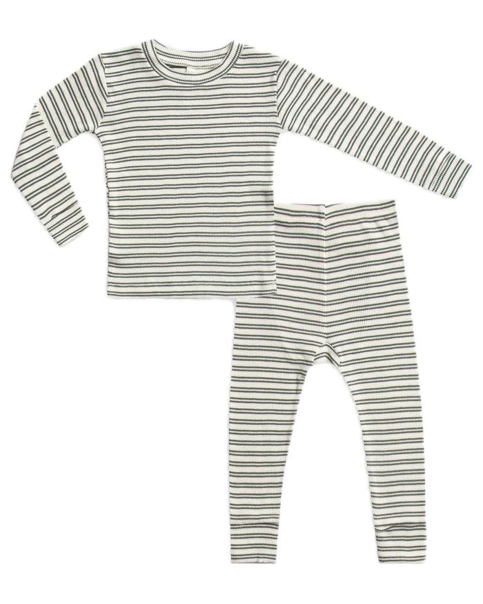 Little rylee + cru baby boy ribbed baby pajama set in spruce stripe