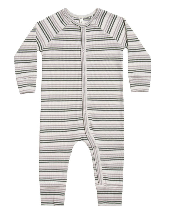 Little rylee + cru baby girl ribbed longjohn in forest + warm grey stripe