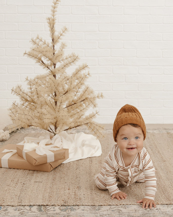 Little rylee + cru baby girl ribbed longjohn in oat + cinnamon stripe