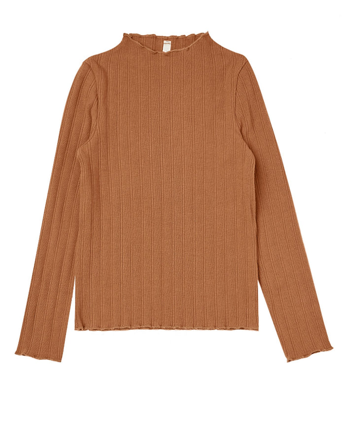 Little rylee + cru girl ribbed longsleeve tee in cinnamon