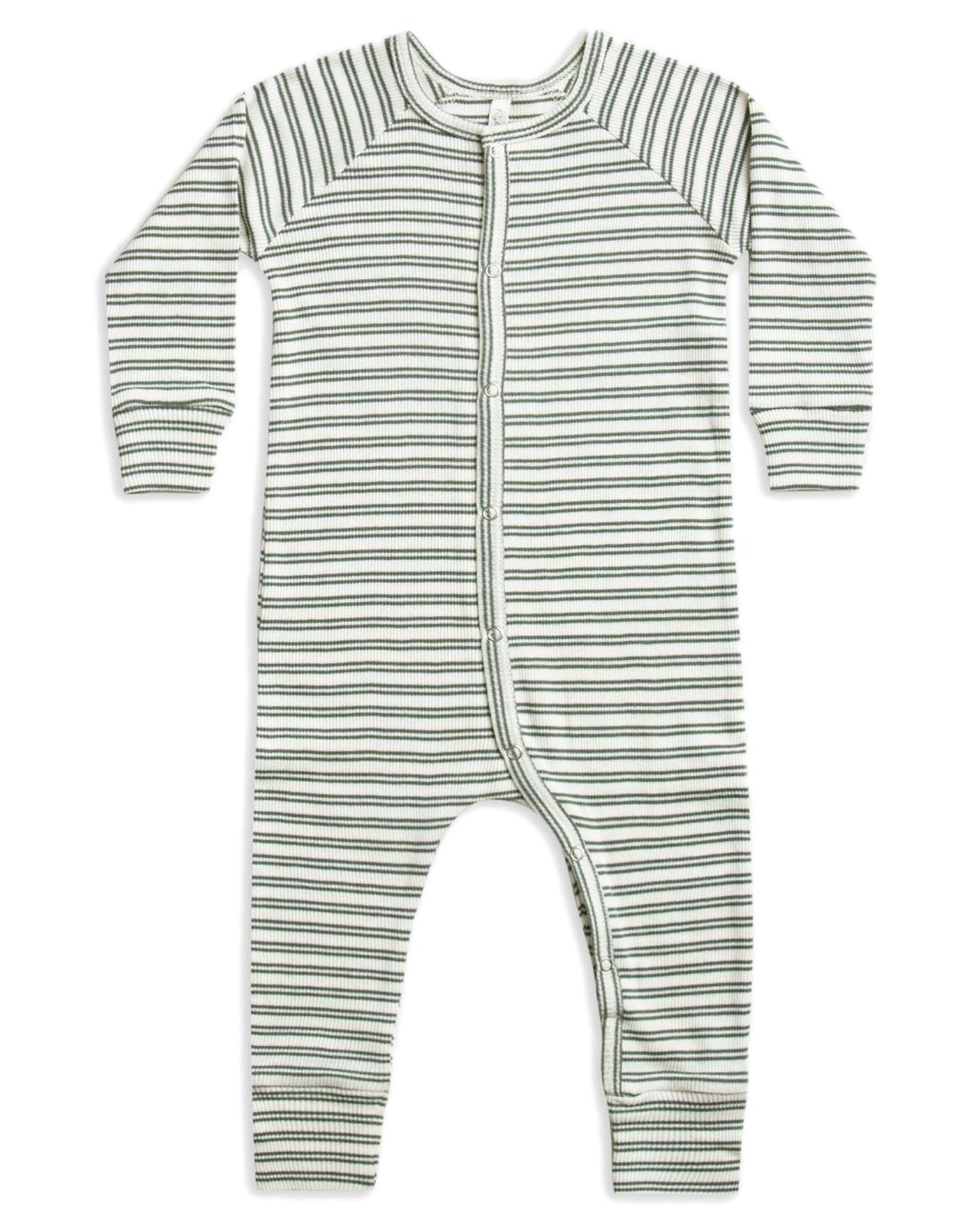 Little rylee + cru baby boy ribbed pajama long john in spruce stripe