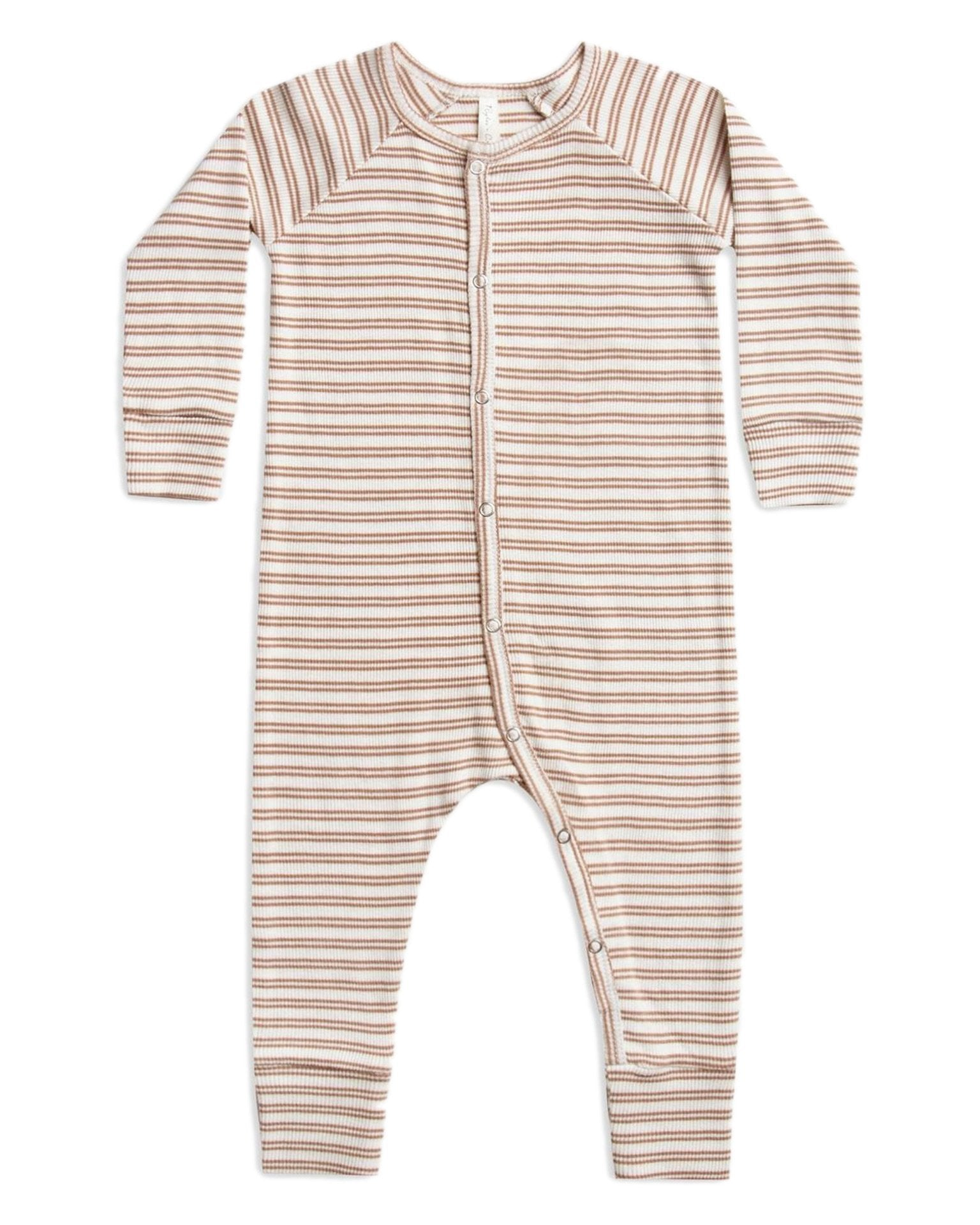 Little rylee + cru baby boy ribbed pajama long john in truffle stripe