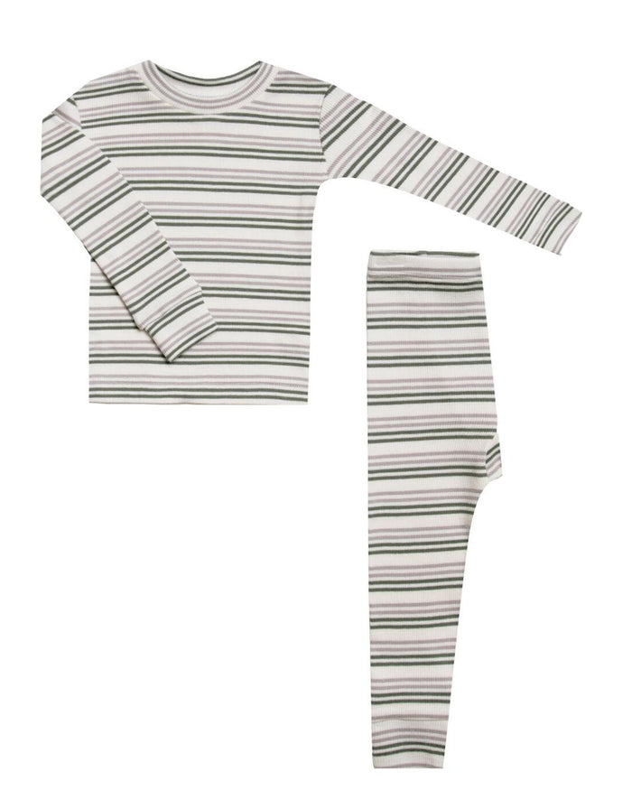Little rylee + cru girl ribbed pajama set in forest + warm grey stripe