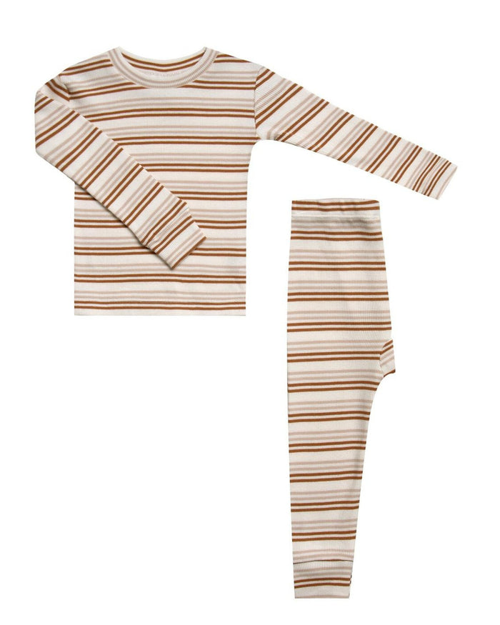 Little rylee + cru girl ribbed pajama set in oat + cinnamon stripe
