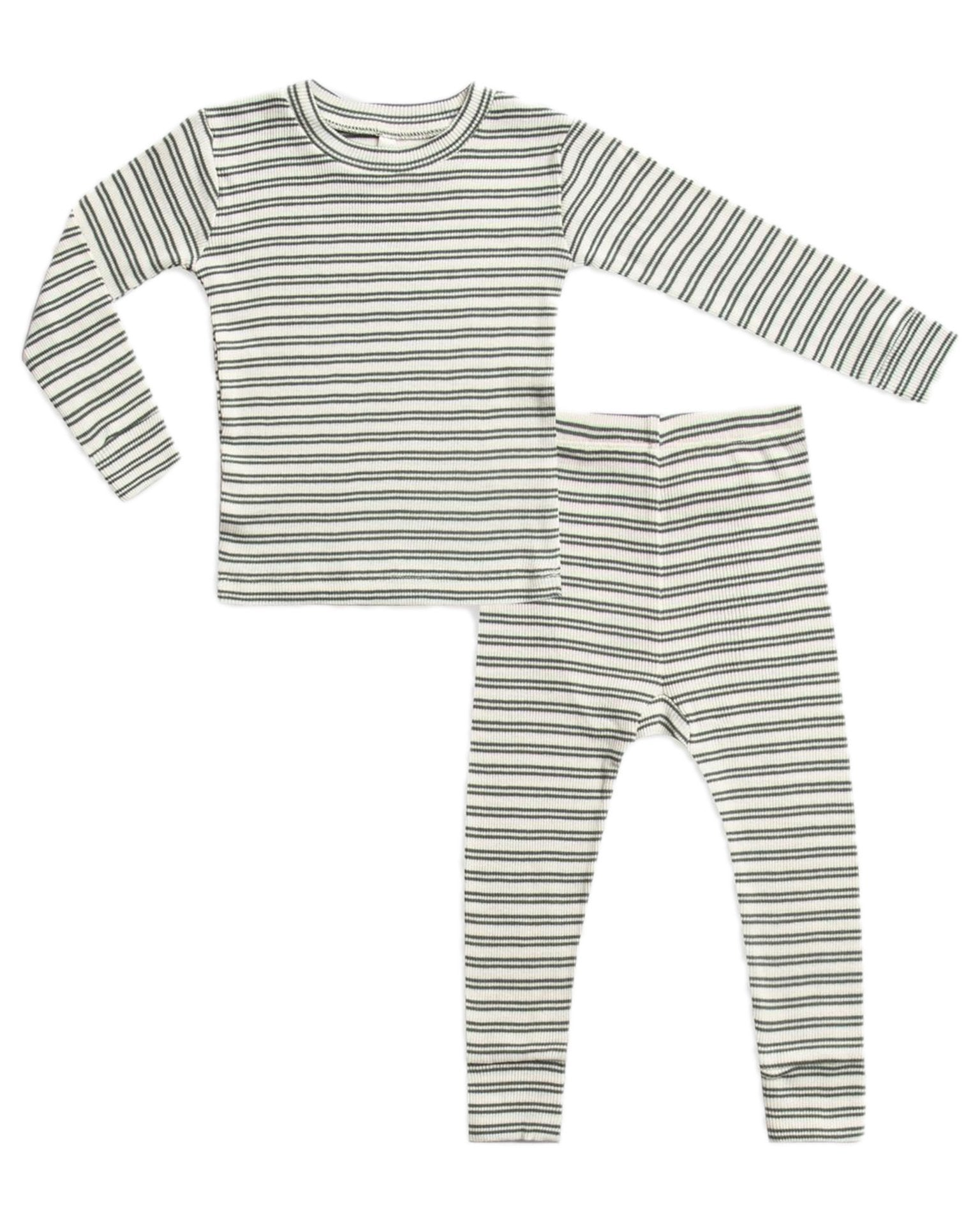 Little rylee + cru boy ribbed pajama set in spruce stripe