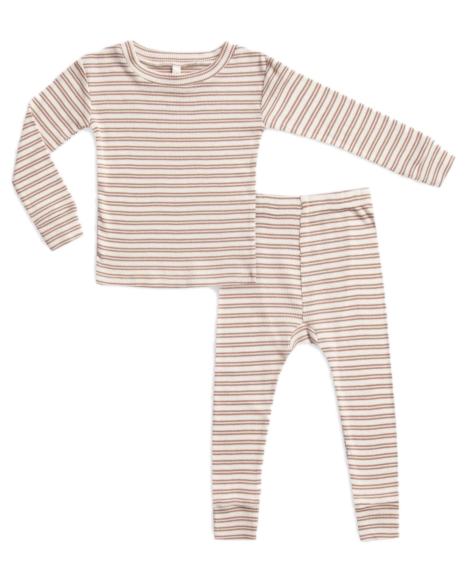 Little rylee + cru boy ribbed pajama set in truffle stripe