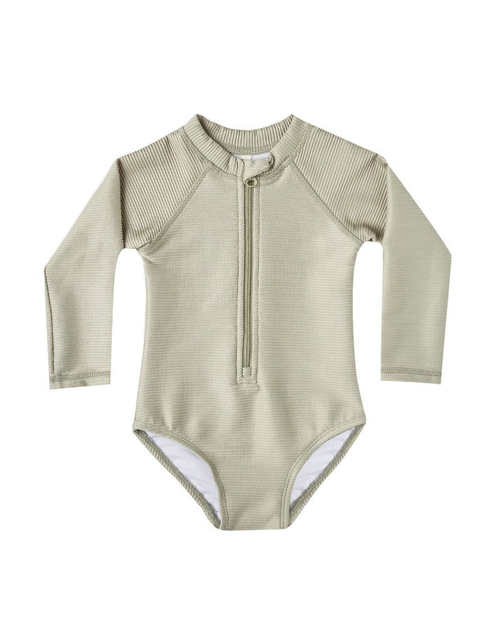 Little rylee + cru girl ribbed rashguard one-piece in sage