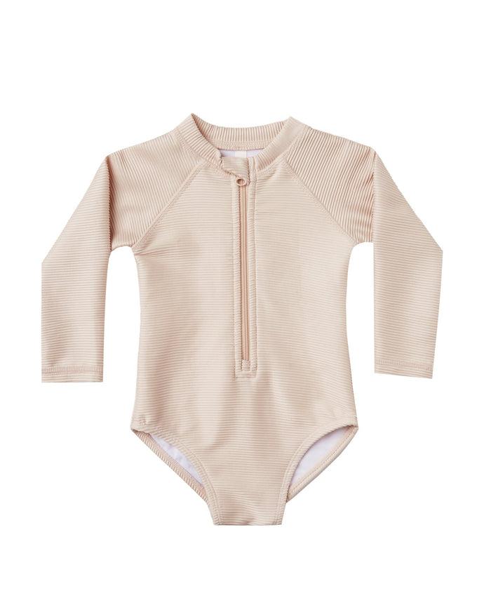 Little rylee + cru girl ribbed rashguard one-piece in shell