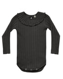 Little rylee + cru baby girl ruffle collar onesie in vintage black