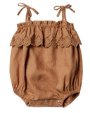 Little rylee + cru baby girl ruffle romper in bronze