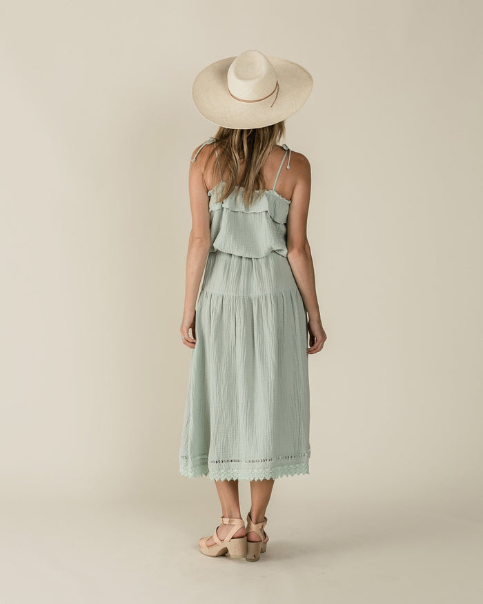 Little rylee + cru women xs ruffle tube top in seafoam