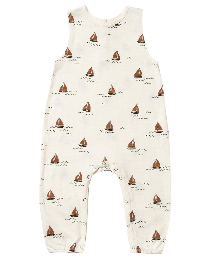 Little rylee + cru baby boy sailboat mills jumpsuit in ivory