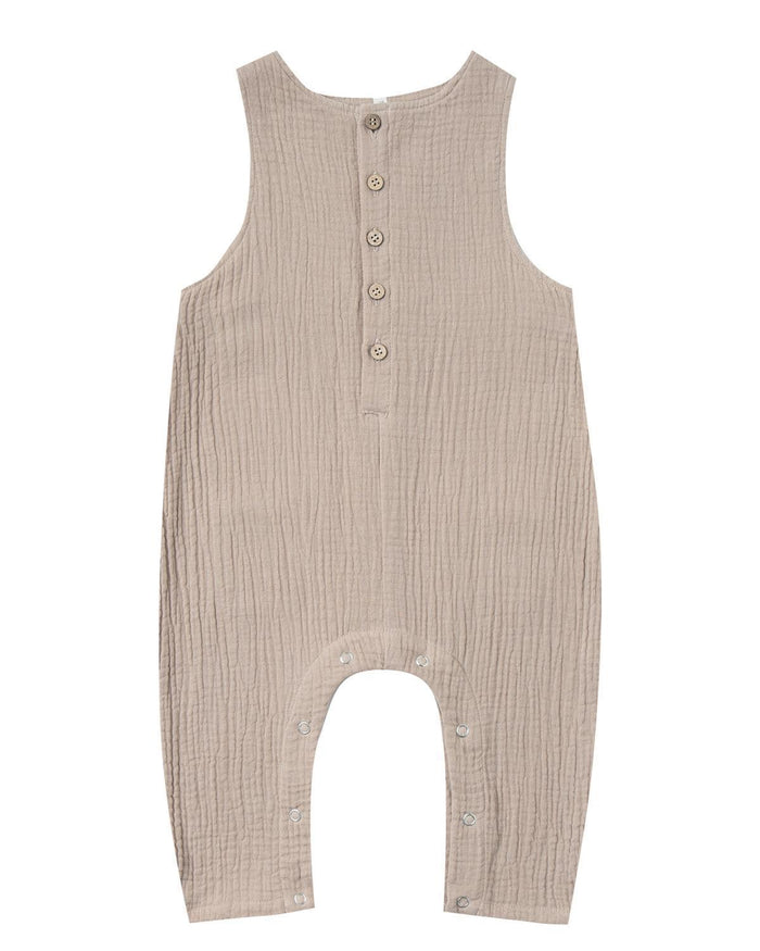 Little rylee + cru baby boy 0-3 sand button jumpsuit