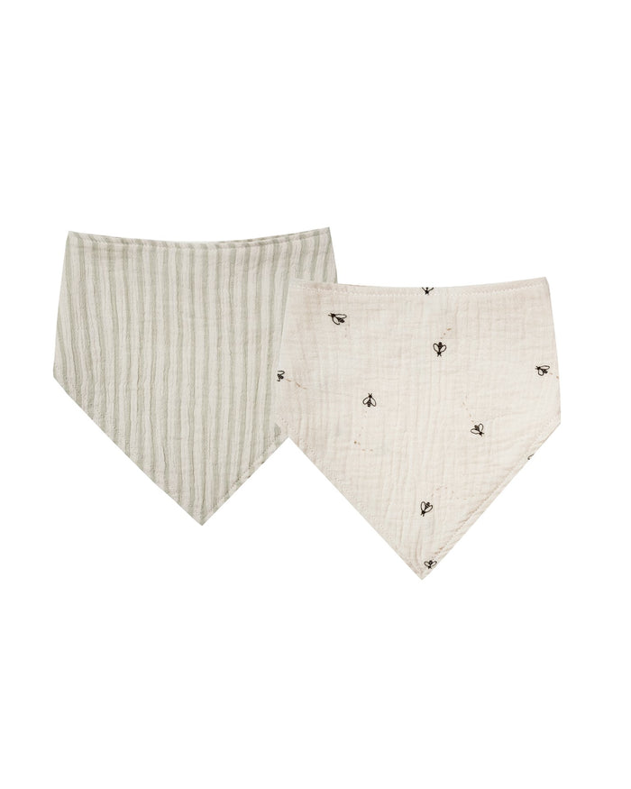 Little rylee + cru baby accessories scarf bib set in natural + sage