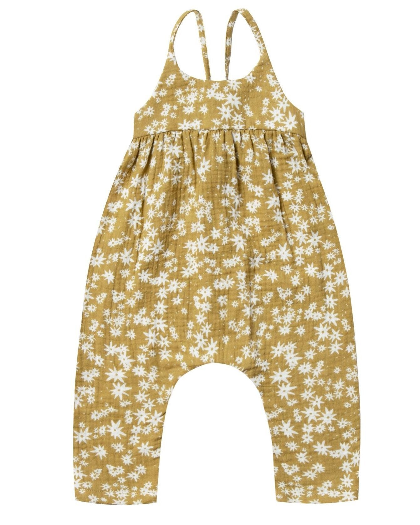 Little rylee + cru baby girl scattered daisy gigi jumpsuit in citron