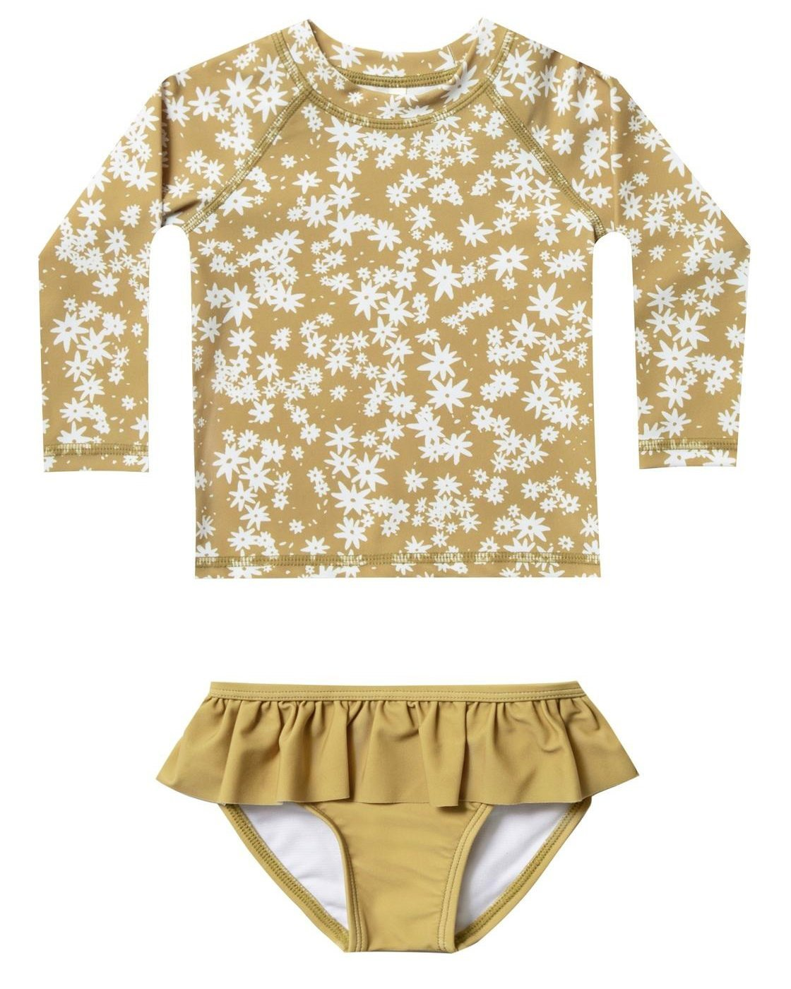 Little rylee + cru baby girl scattered daisy rashguard set in citron
