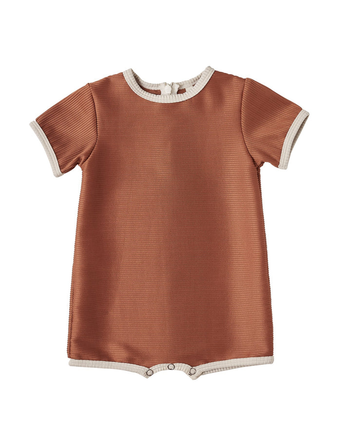 Little rylee + cru baby girl shorty one-piece in amber