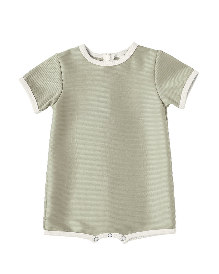 Little rylee + cru baby girl shorty one-piece in sage