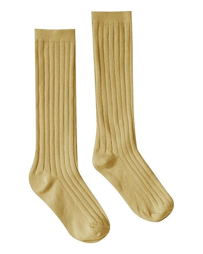Little rylee + cru accessories solid ribbed socks in citron