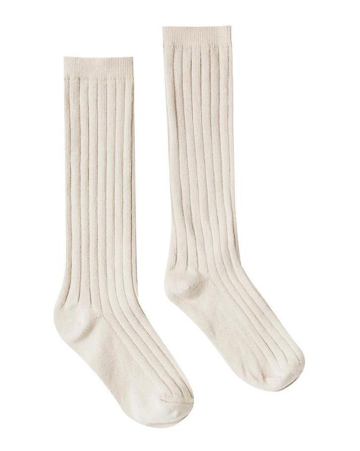 Little rylee + cru accessories solid ribbed socks in natural