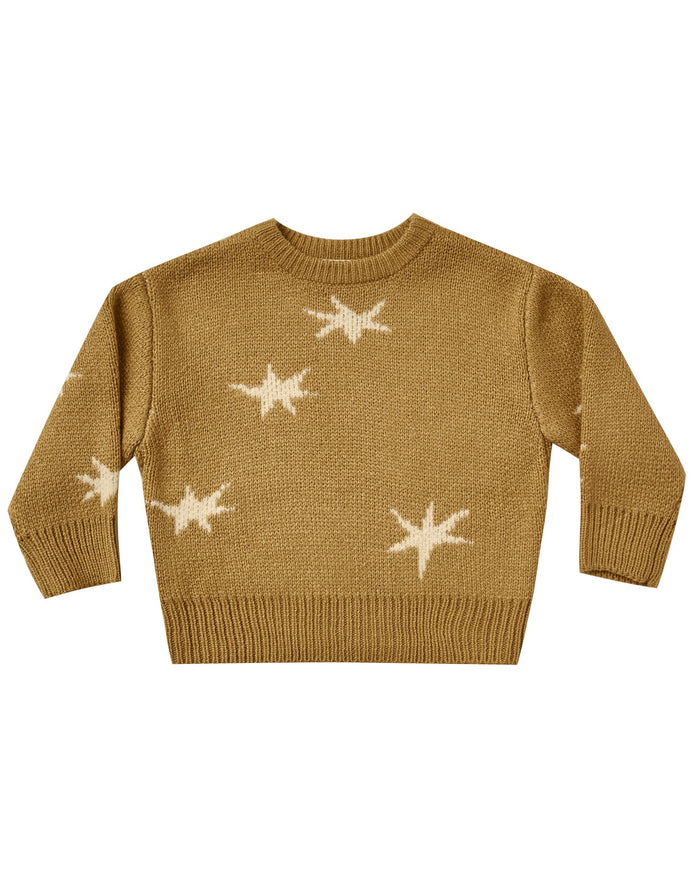 Little rylee + cru baby girl stars knit pullover in goldenrod