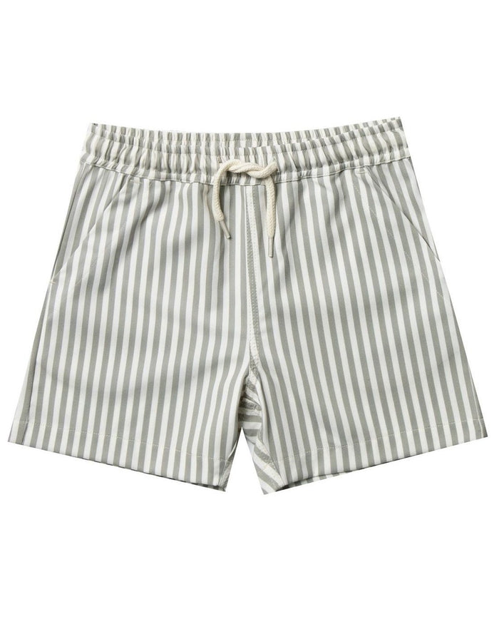 Little rylee + cru boy stripe boardshort in olive
