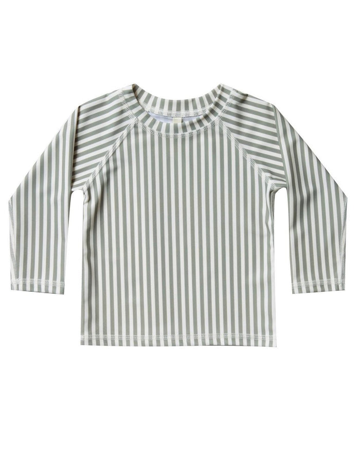 Little rylee + cru boy stripe rashguard in olive