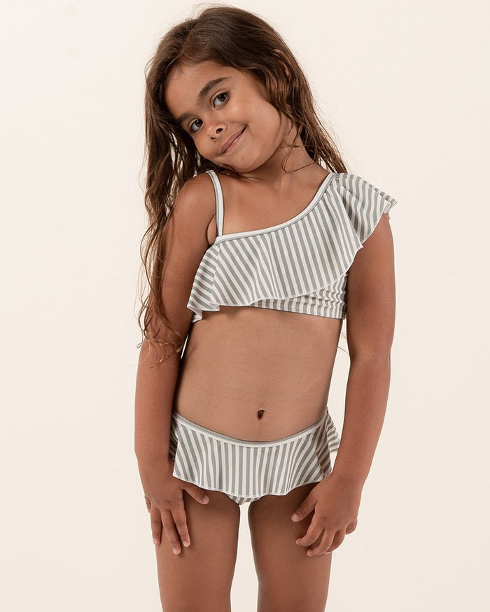 Little rylee + cru girl stripe skirted bikini in olive