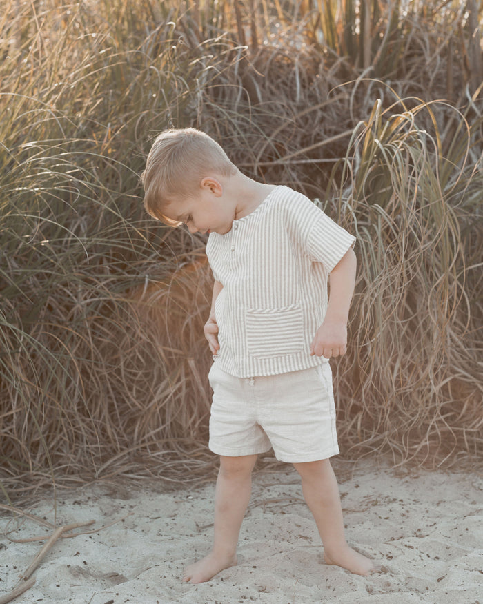 Little rylee + cru boy stripe woven henley tee in olive