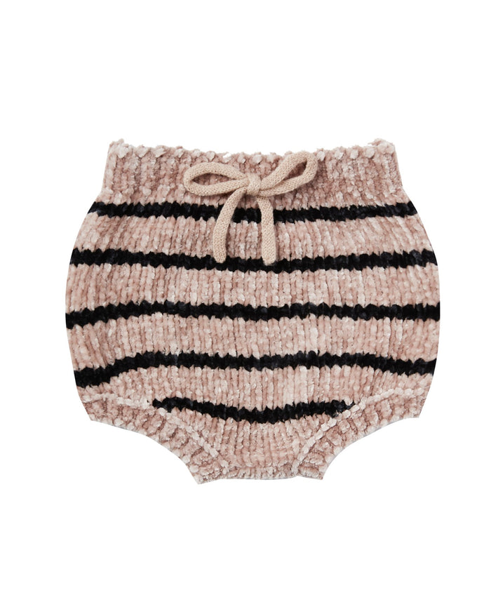 Little rylee + cru baby girl striped chenille bloomer in oat