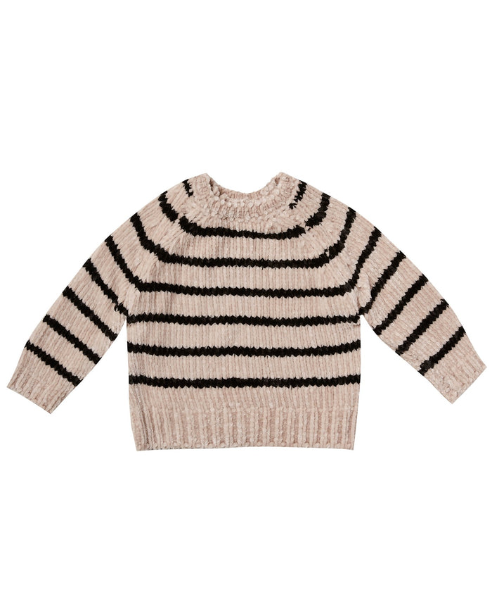 Little rylee + cru baby girl striped chenille sweater in oat