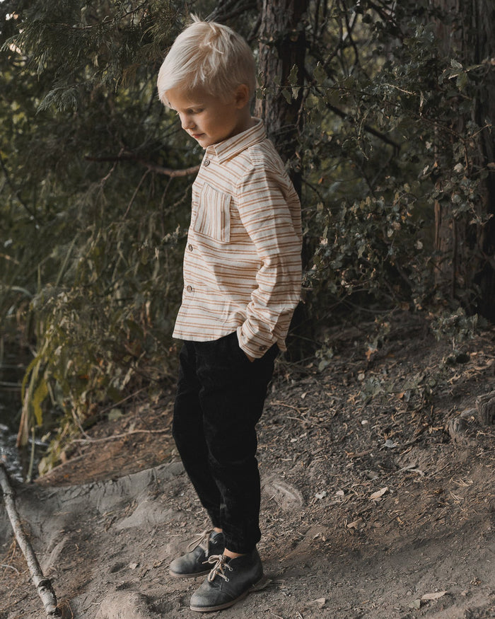 Little rylee + cru girl striped collared shirt in cinnamon
