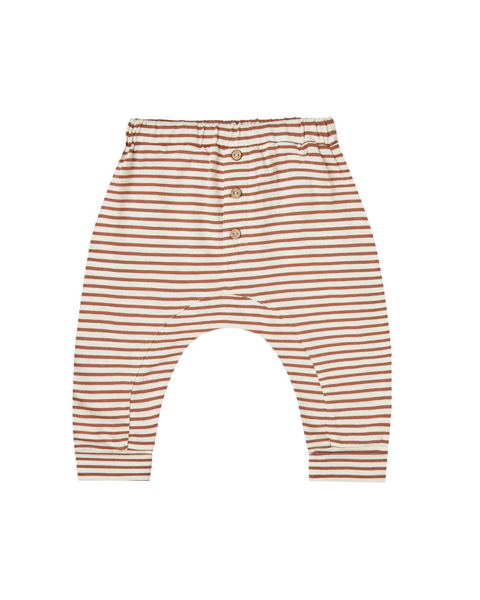 Little rylee + cru baby girl striped slub pant in amber + ivory