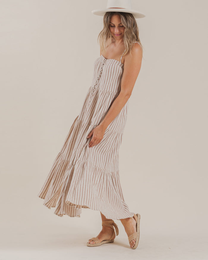Little rylee + cru women striped tiered maxi dress in amber