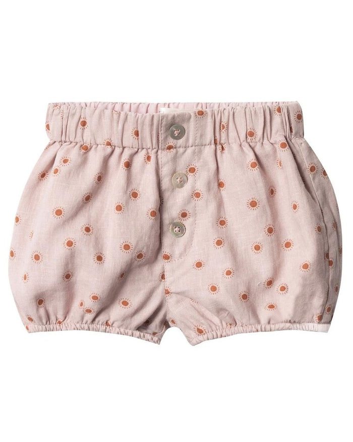 Little rylee + cru baby girl sunburst button short in lilac
