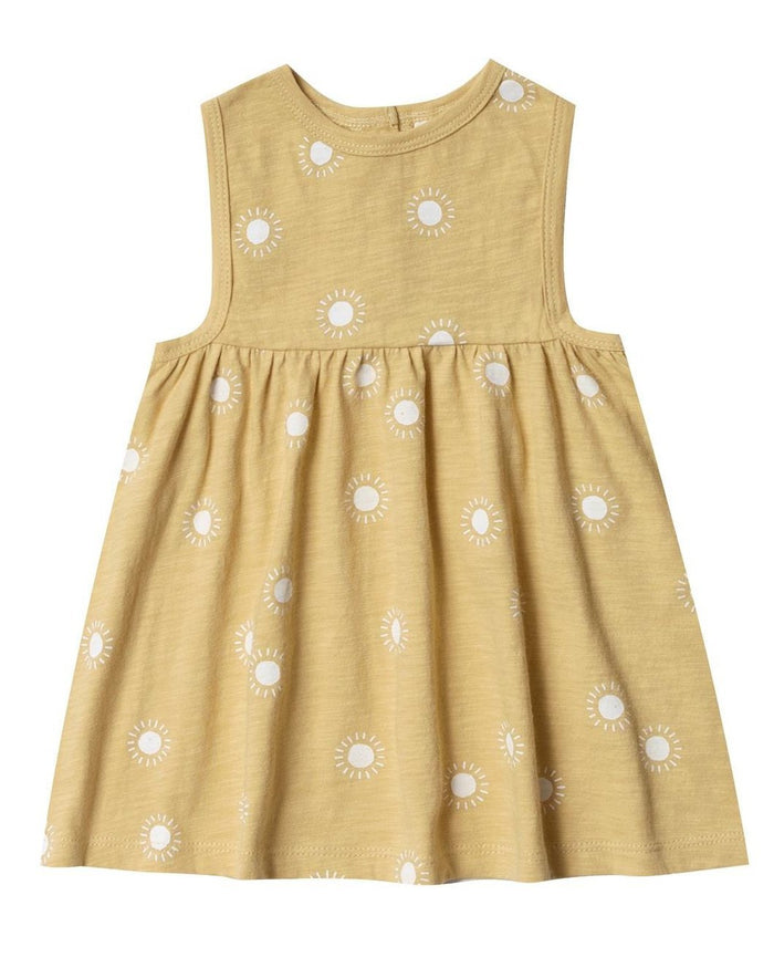 Little rylee + cru baby girl sunburst layla dress in citron