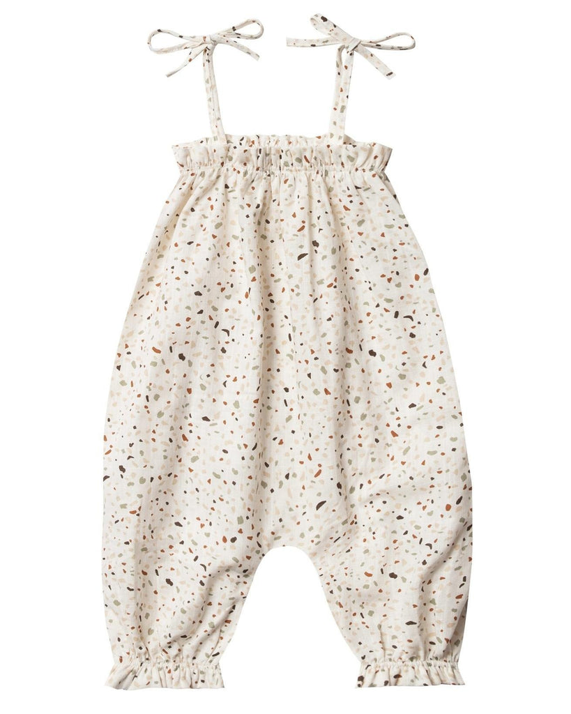 Little rylee + cru baby girl terrazzo bubble jumpsuit in ivory