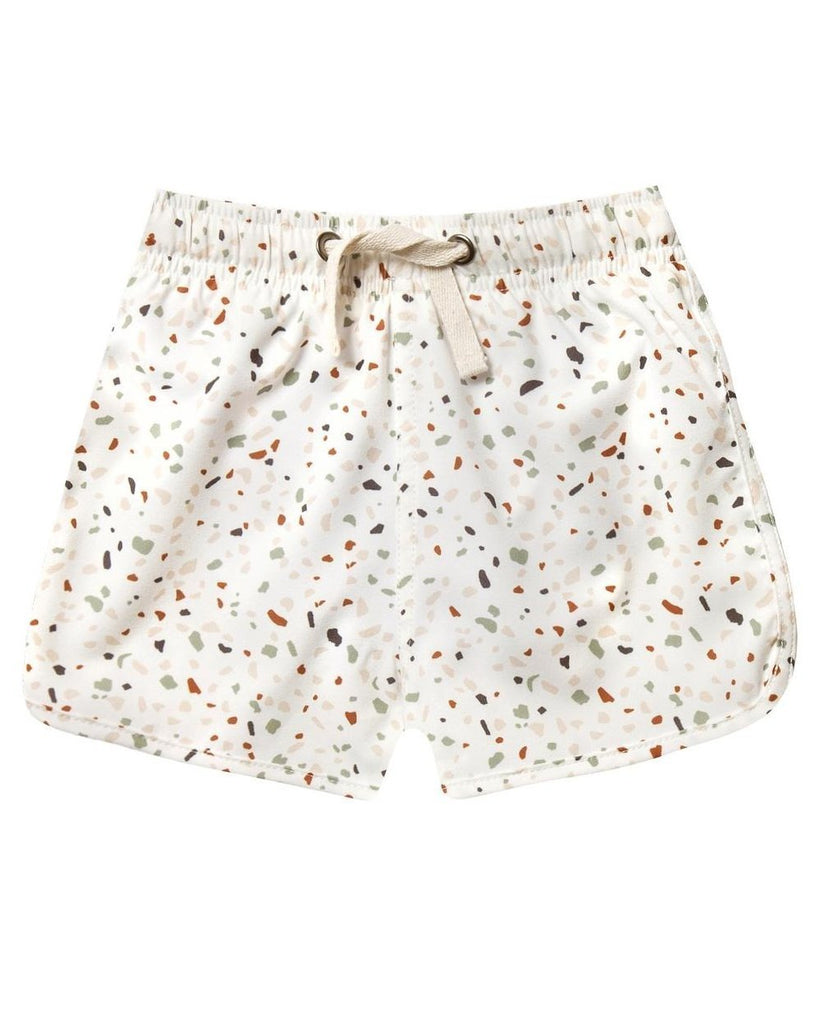 Little rylee + cru baby boy terrazzo swim trunk in ivory