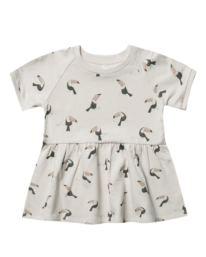 Little rylee + cru baby girl 0-3 toucan raglan french terry dress