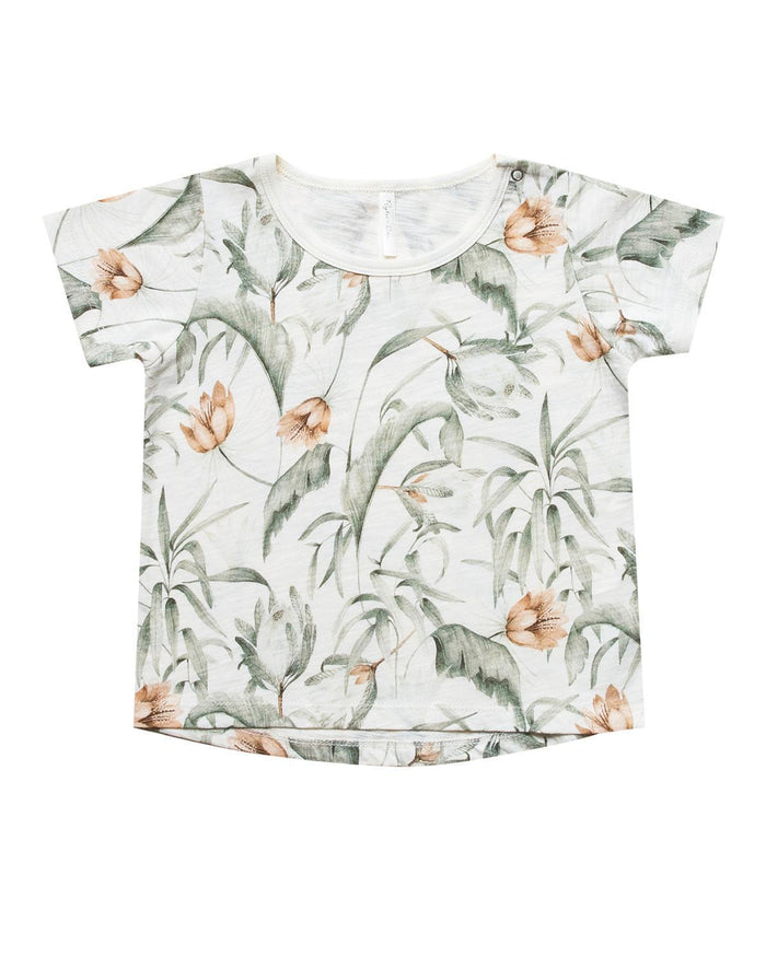 Little rylee + cru boy 0-3 tropical basic tee